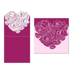 Laser cut card template with rose heart vector
