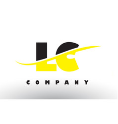 Lc l c black and yellow letter logo with swoosh vector
