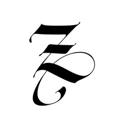 Letter z in gothic style alphabet the symbol vector