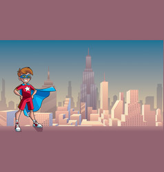 Little super boy city background vector