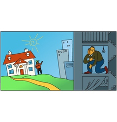 living in city or in suburbs vector image