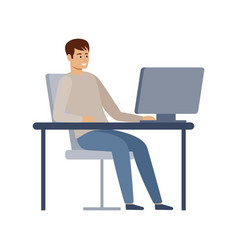 male manager is working on a computer vector image
