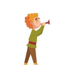 Man in medieval clothes blowing trumpet vector