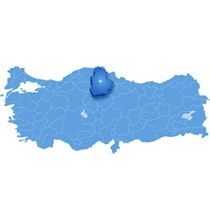 Map of Turkey Corum vector image