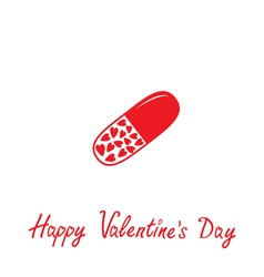 Medical pill with hearts inside Valentines Day vector image