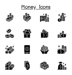 Money cash currency coin icons set graphic design vector
