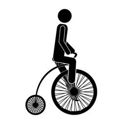 Monochrome pictogram of man in penny farthing vector