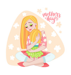 Mothers day card with mom and her child vector