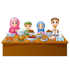 Muslim family pray together before break fasting vector