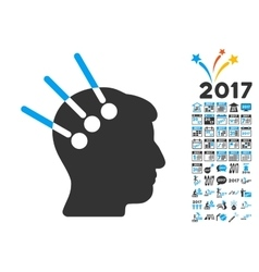 Neural interface icon with 2017 year bonus symbols vector