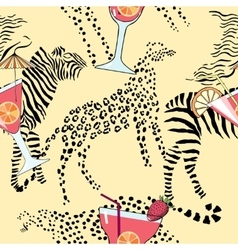 Pattern with cocktail on exotic background vector image