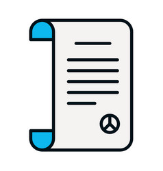 Peace treaty document icon line and fill style vector