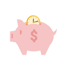 piggy bank time is money savings and profit pig vector image