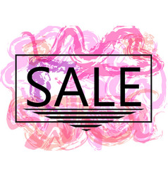 Pink sale off sign over grunge brush art paint vector