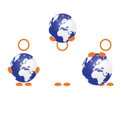 planet earth with people icon vector image