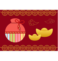postcard with fortune bag lucky card sack vector image