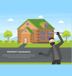 property insurance banner template protection of vector image