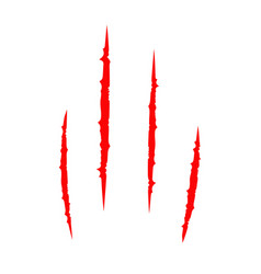 Red bloody claws animal scratch scrape track cat vector