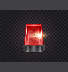 red emergency flashing beacon with siren vector image