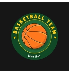Retro green color basketball badge vector