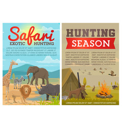 safari hunting animals and birds with hunter gun vector image