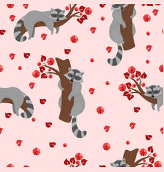 seamless pattern with raccoons on branches vector image