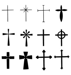 Set of various crosses both simple and ornamental vector