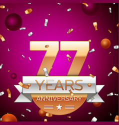 seventy seven years anniversary celebration design vector image
