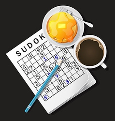 Sudoku game mug of coffee and pan vector