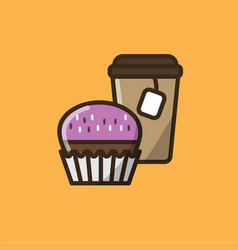 Tea drink in paper cup with muffin vector