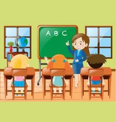 Teacher teaching kindergarten students in class vector