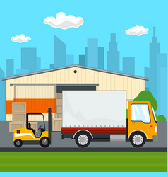 Warehouse and transportation services vector