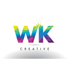 wk w k colorful letter origami triangles design vector image