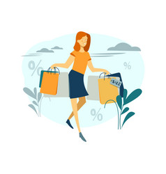 woman is shopping beautiful girl with the vector image