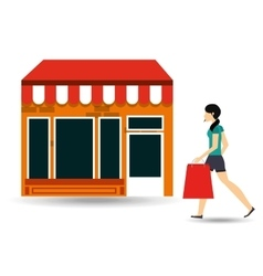 woman walking bag shopping store vector image