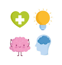 world mental health day cartoon brain profile vector image