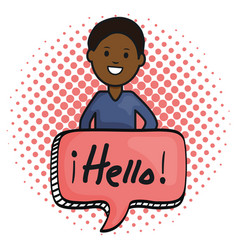 Young afro man and speech bubble with hello vector