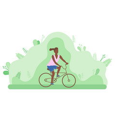young girl rides a bicycle in a forest or park vector image