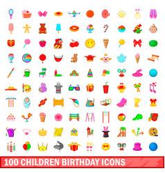 100 children birthday icons set cartoon style vector