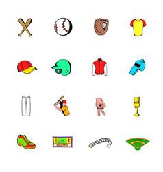 baseball icons set cartoon vector image vector image