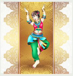 Beautiful indian girl dancing vector