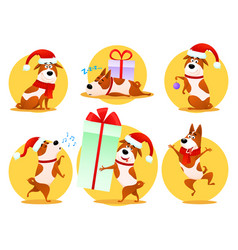 Christmas cartoon dog emoticons emoji stickers vector
