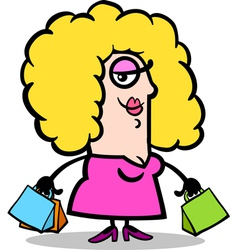 happy woman with shopping bags cartoon vector image vector image