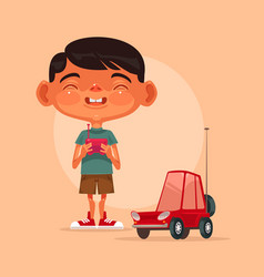 little happy smiling boy character play vector image