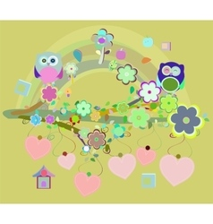 owls birds and love heart tree branch vector image vector image