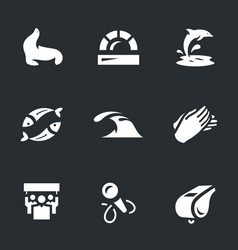 set of dolphinarium icons vector image
