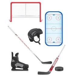 set of hockey equipment vector image vector image