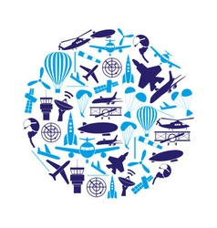 aviation big set of blue icons in circle eps10 vector image vector image