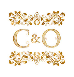C and o vintage initials logo symbol the letters vector