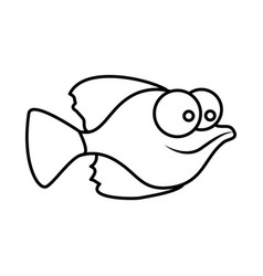 monochrome silhouette of small fish with big eyes vector image